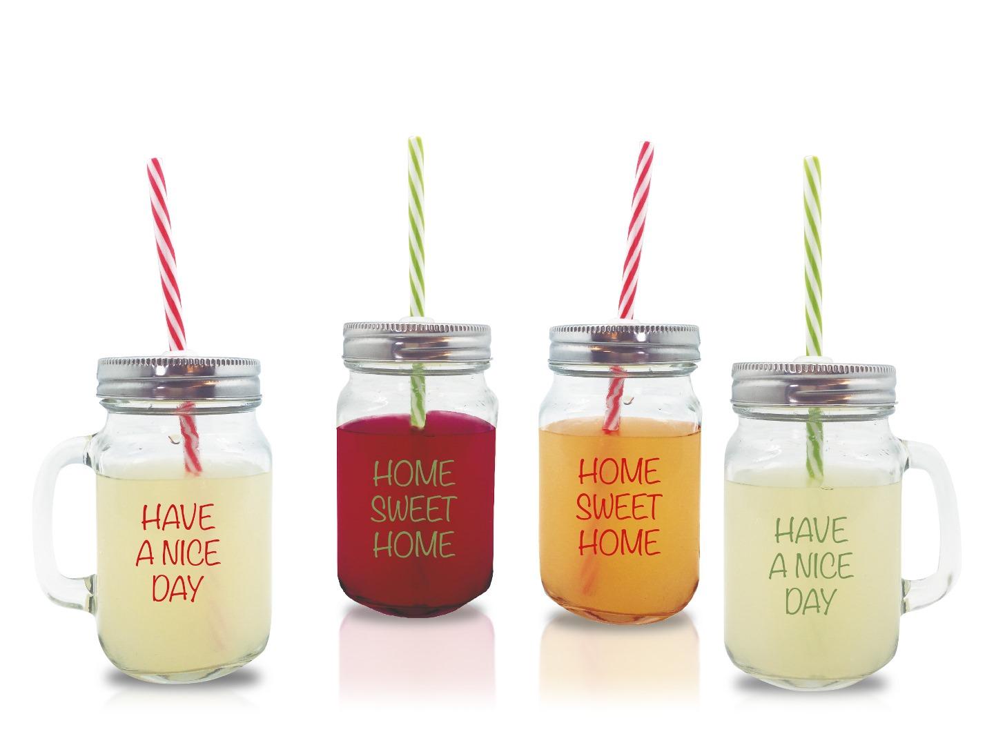 Онлайн каталог PROMENU: Набор стаканов с ручкой, трубочкой и крышкой Nerthus Mason Jar , объем 0,45 л, 4 штуки                               FIH 100