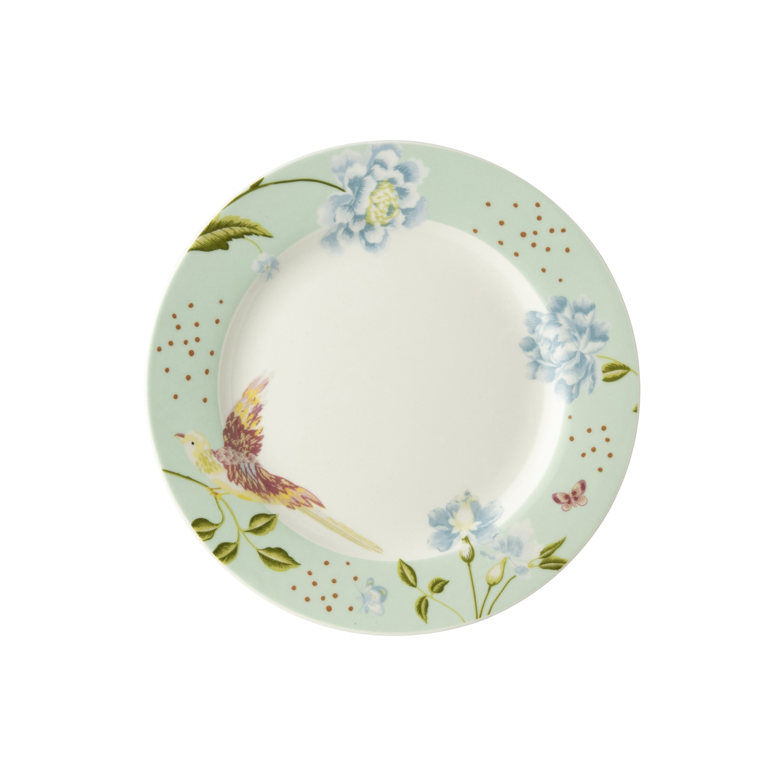 """Онлайн каталог PROMENU: Тарелка хлебная """"Цветы и птица"""" Laura Ashley HERITAGE, диаметр 18 см, мятный с цветами                                   180423"""