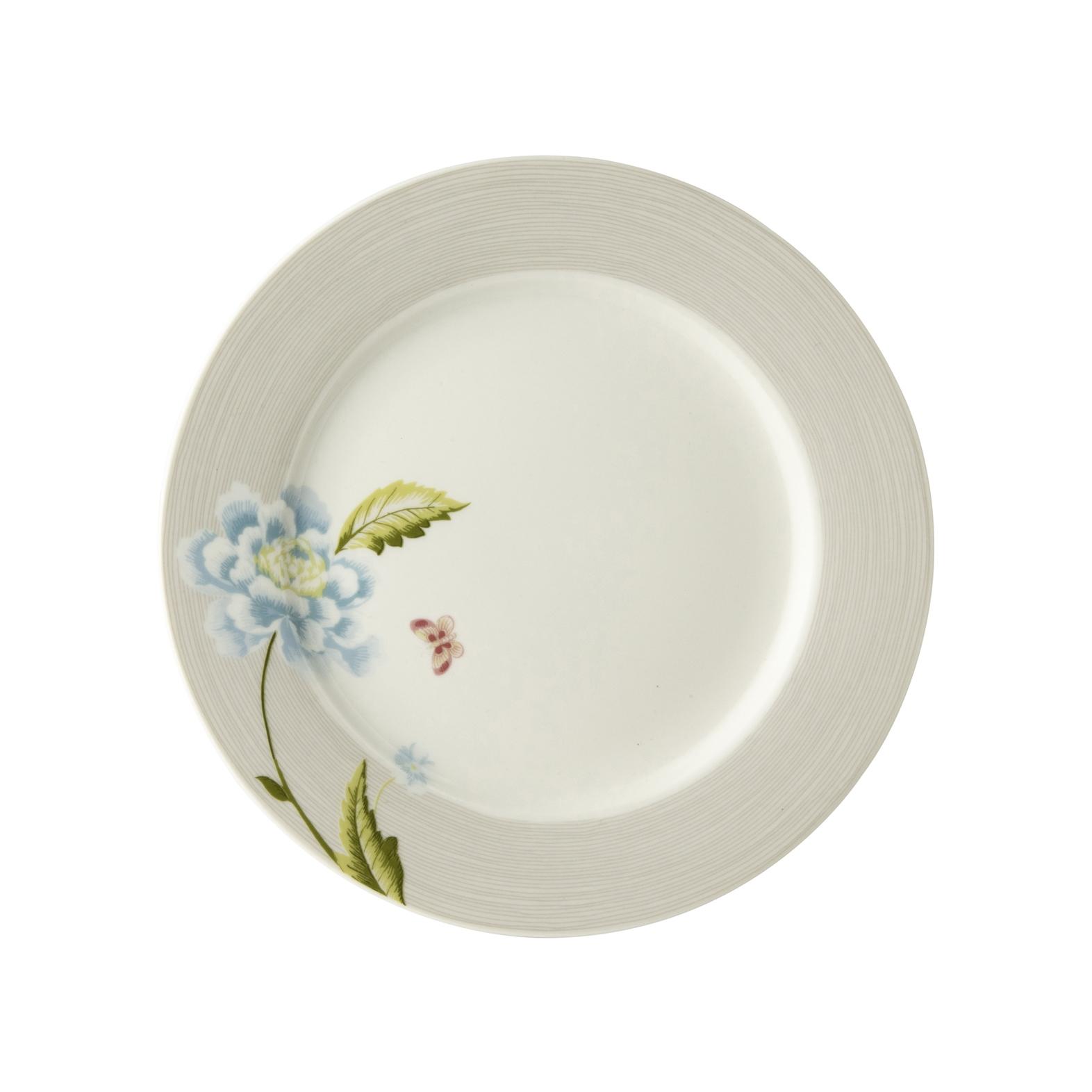"Онлайн каталог PROMENU: Тарелка десертная ""Цветок"" Laura Ashley HERITAGE, диаметр 20 см, серый с цветком                                   180446"