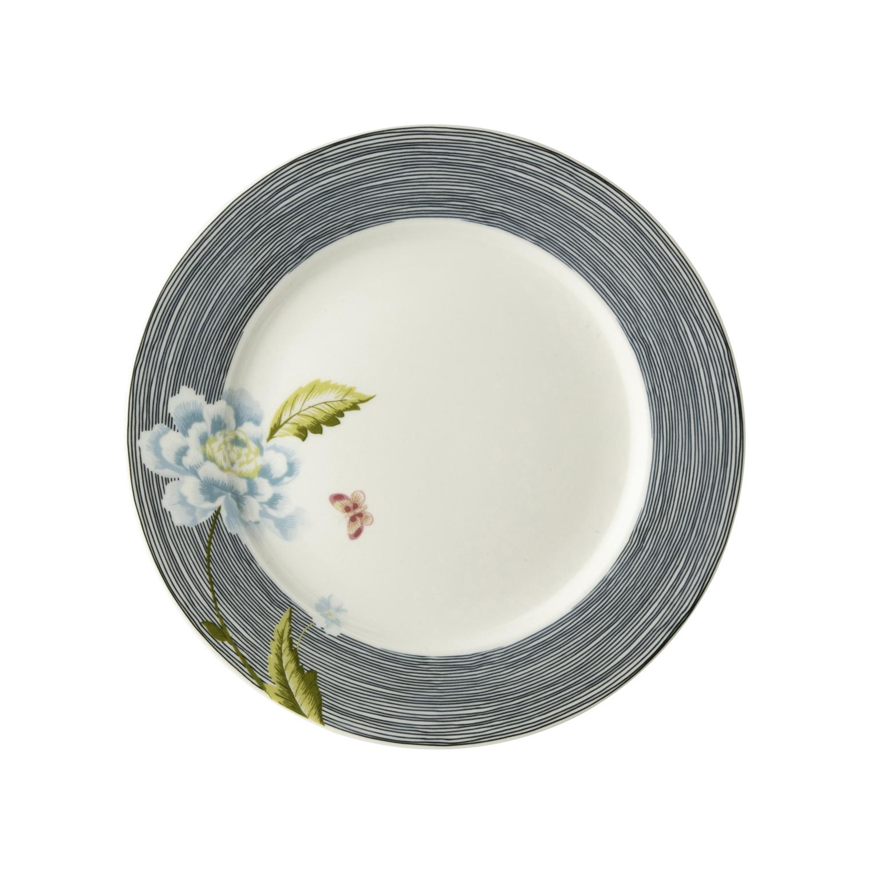 """Онлайн каталог PROMENU: Тарелка десертная """"Цветок"""" Laura Ashley HERITAGE, диаметр 20 см, синяя полоска с цветком                                   180448"""