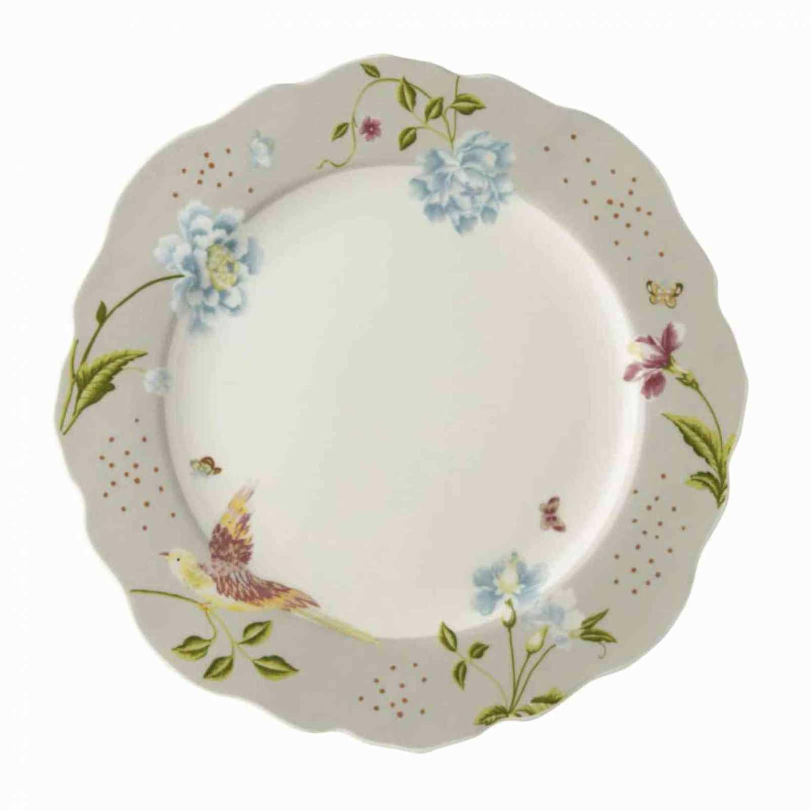 Онлайн каталог PROMENU: Тарелка Laura Ashley HERITAGE, диаметр 24,5 см, серый с цветами и птицей                               180450