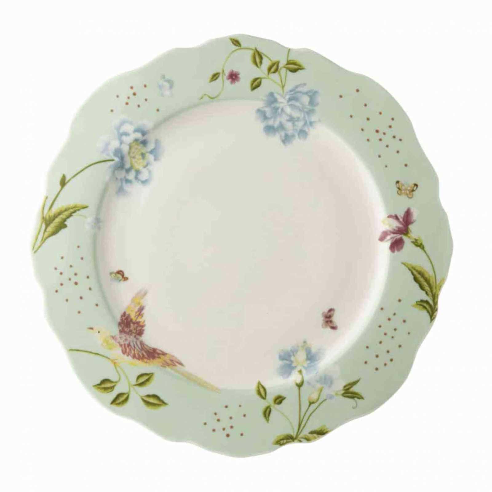 Онлайн каталог PROMENU: Тарелка Laura Ashley HERITAGE, диаметр 24,5 см, ментоловый с цветами и птицей                               180454