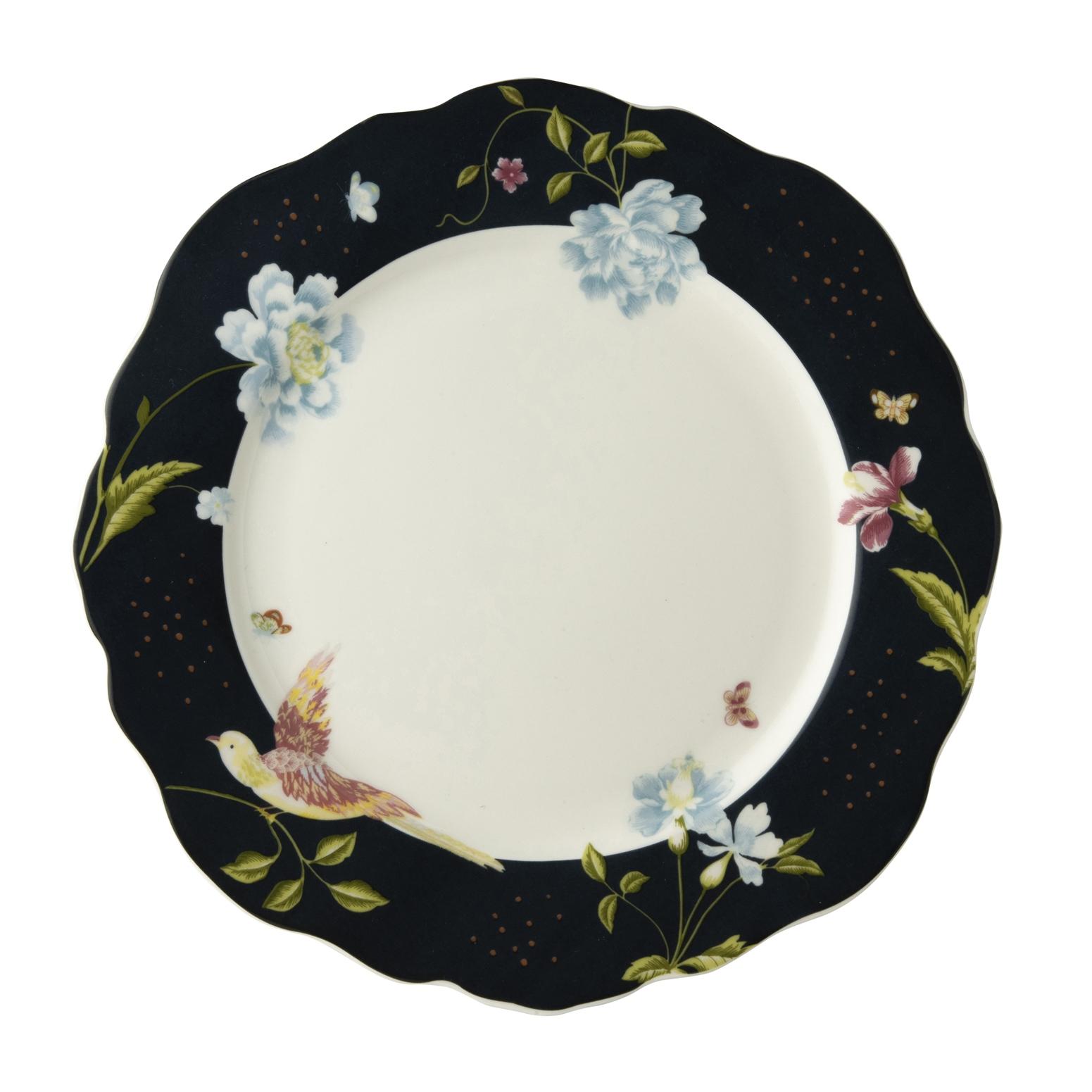 """Онлайн каталог PROMENU: Тарелка основная """"Цветы и птица"""" Laura Ashley HERITAGE, диаметр 24,5 см, темно-синий с цветами                                   180452"""