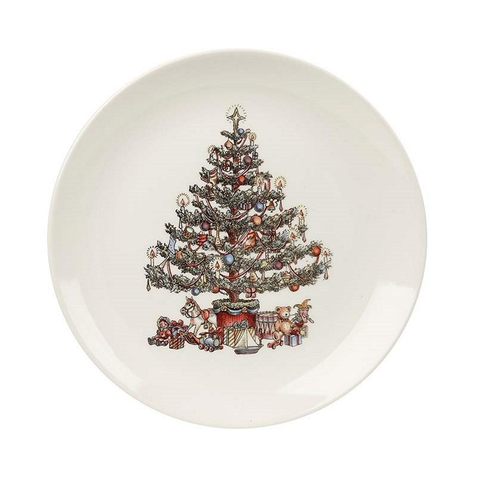 "Онлайн каталог PROMENU: Тарелка обеденная ""Новогодняя елка"" Churchill CHRISTMAS TREE, диаметр 26 см, белый                               CHTR00011"