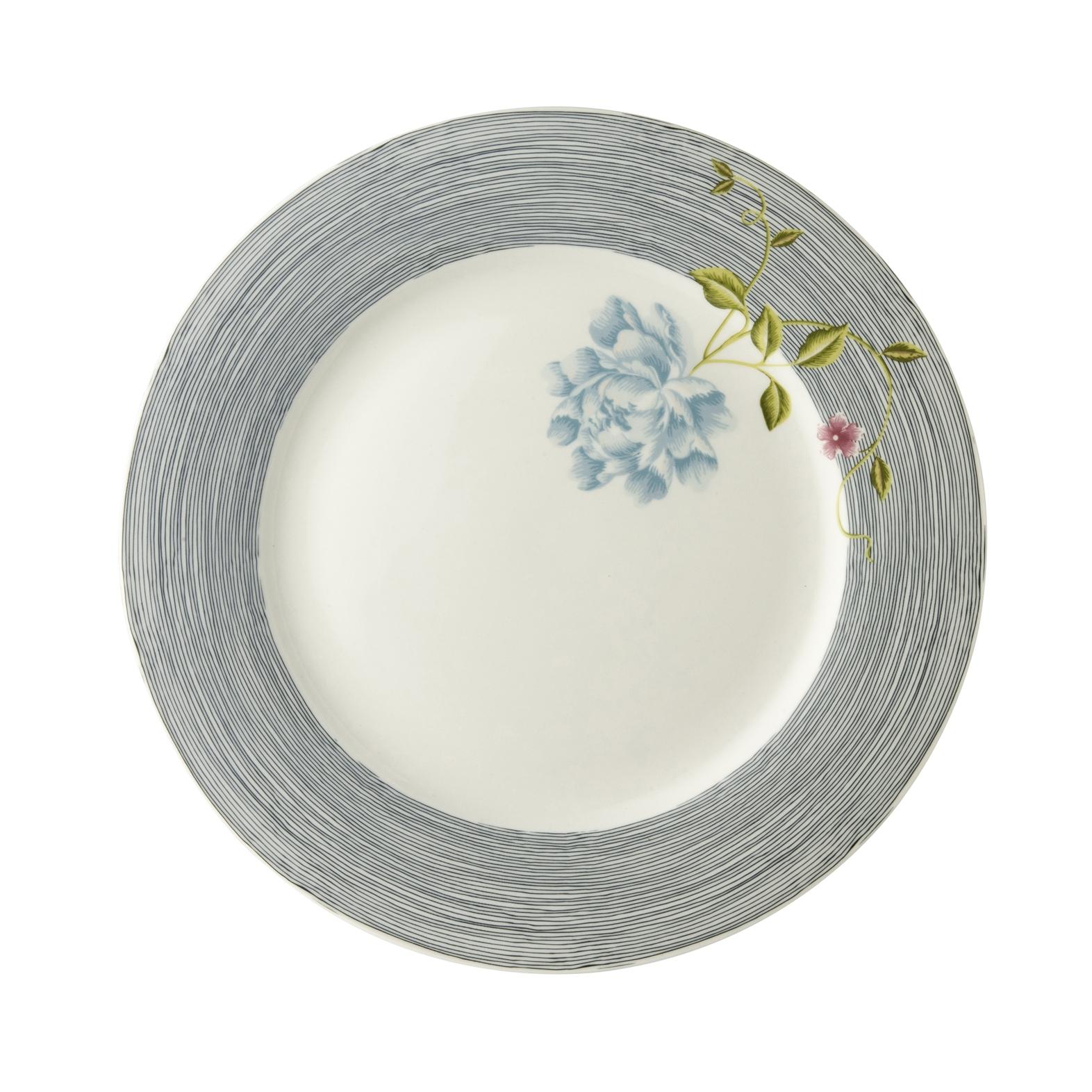 """Онлайн каталог PROMENU: Тарелка основная """"Цветок"""" Laura Ashley HERITAGE, диаметр 26 см, синяя полоска с цветком                                   180457"""