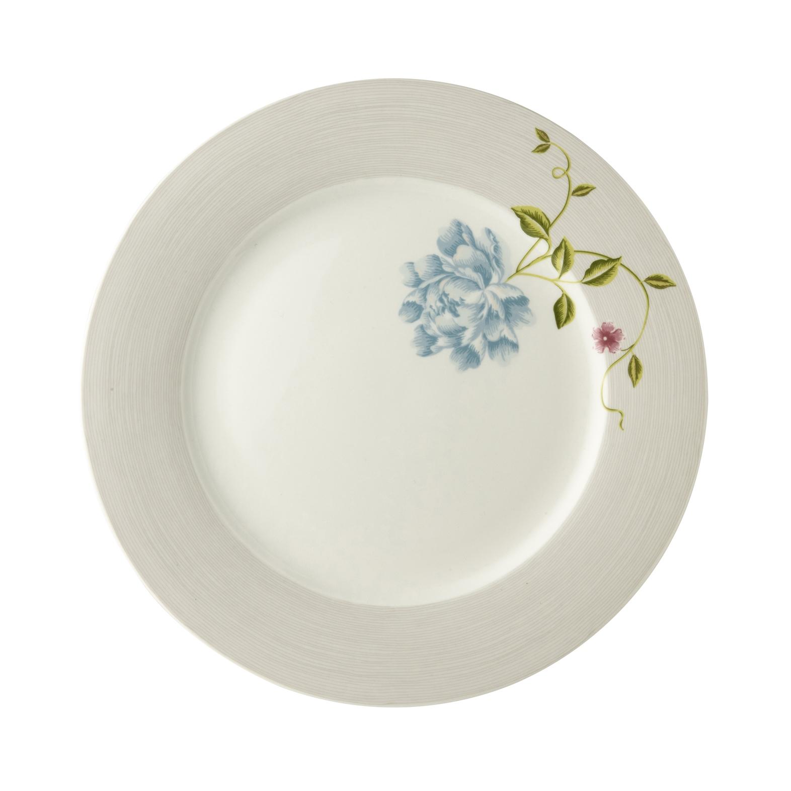 "Онлайн каталог PROMENU: Тарелка основная ""Цветок"" Laura Ashley HERITAGE, диаметр 26 см, серый с цветком                                   180455"