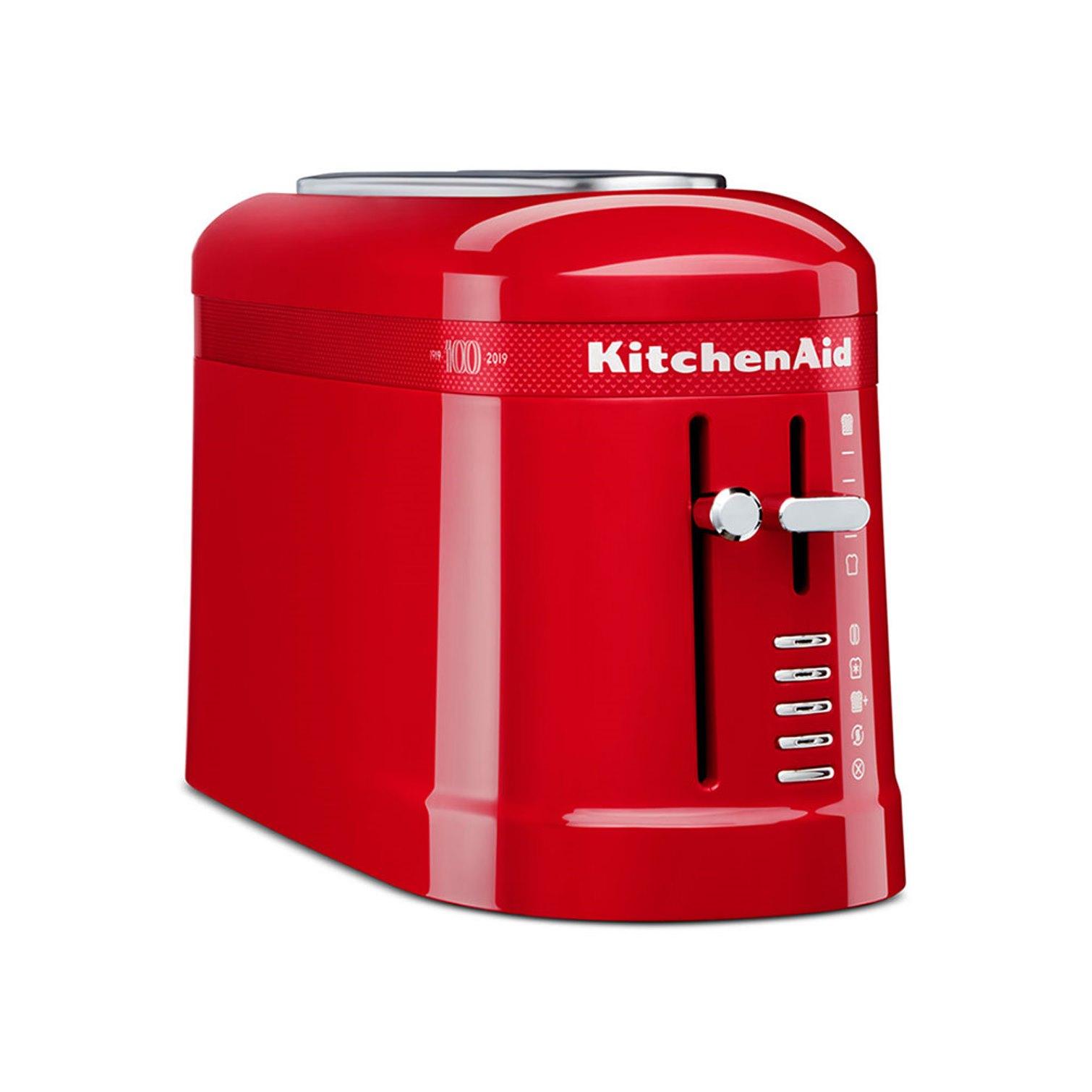 Онлайн каталог PROMENU: Тостер на один слот (два ломтика) KitchenAid ARTISAN Queen of Hearts, 4 режима, 20х40х14 см, чувственный красный                               5KMT3115HESD