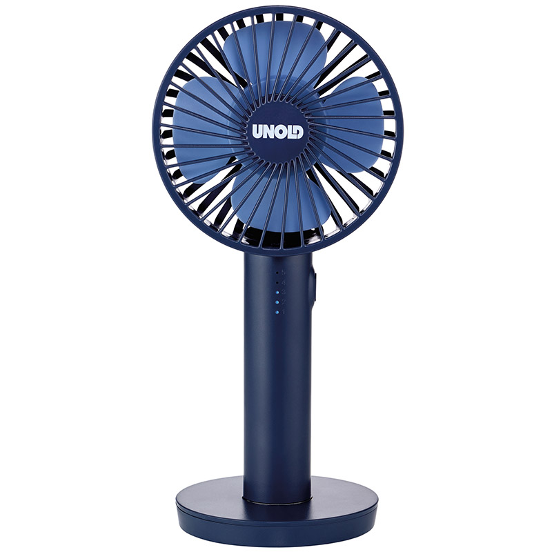 Онлайн каталог PROMENU: Ручной вентилятор Unold HANDHELD FAN Breezy, высота 20,5 см, синий Unold 86628